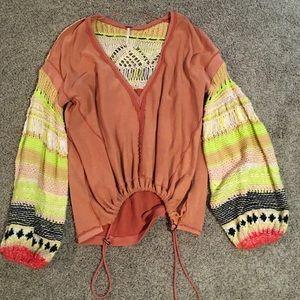 Free People sweater crocheted BEAUTIFUL